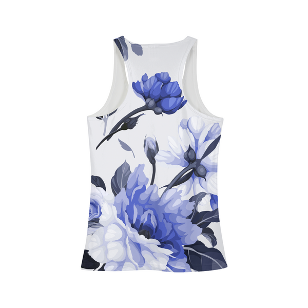 LUX BLUE FLORAL WOMEN'S TANK,Apparel- BLACKLUX