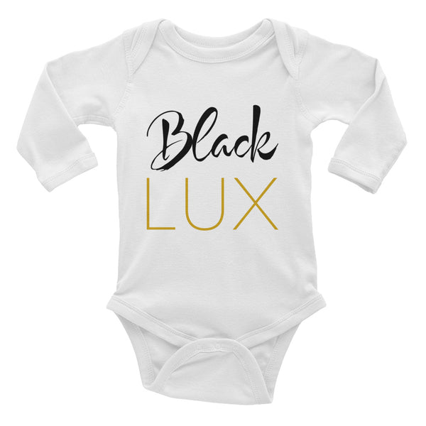 Black Lux Infant Long Sleeve Bodysuit,Apparel- BLACKLUX