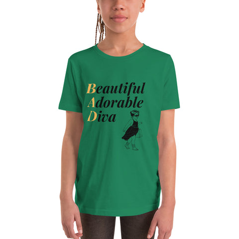 Beautiful Adorable Diva Youth T-Shirt,Kids- BLACKLUX