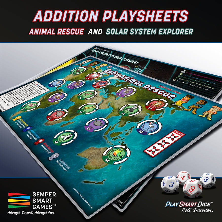 Playsheet: Dice Addition Games Animal Rescue & Solar System Explorer
