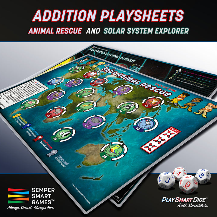 Playsheet: Dice Addition Games Baby Animal Rescue & Solar System Explorer