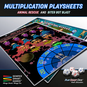 Playsheet: Dice Multiplication Games Animal Rescue & Biter Bot Blast