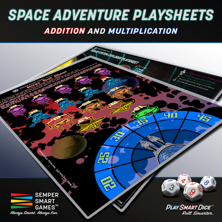 Playsheet: Dice Addition and Multiplication Space Adventure Games Biter Bot Blast & Solar System Explorer