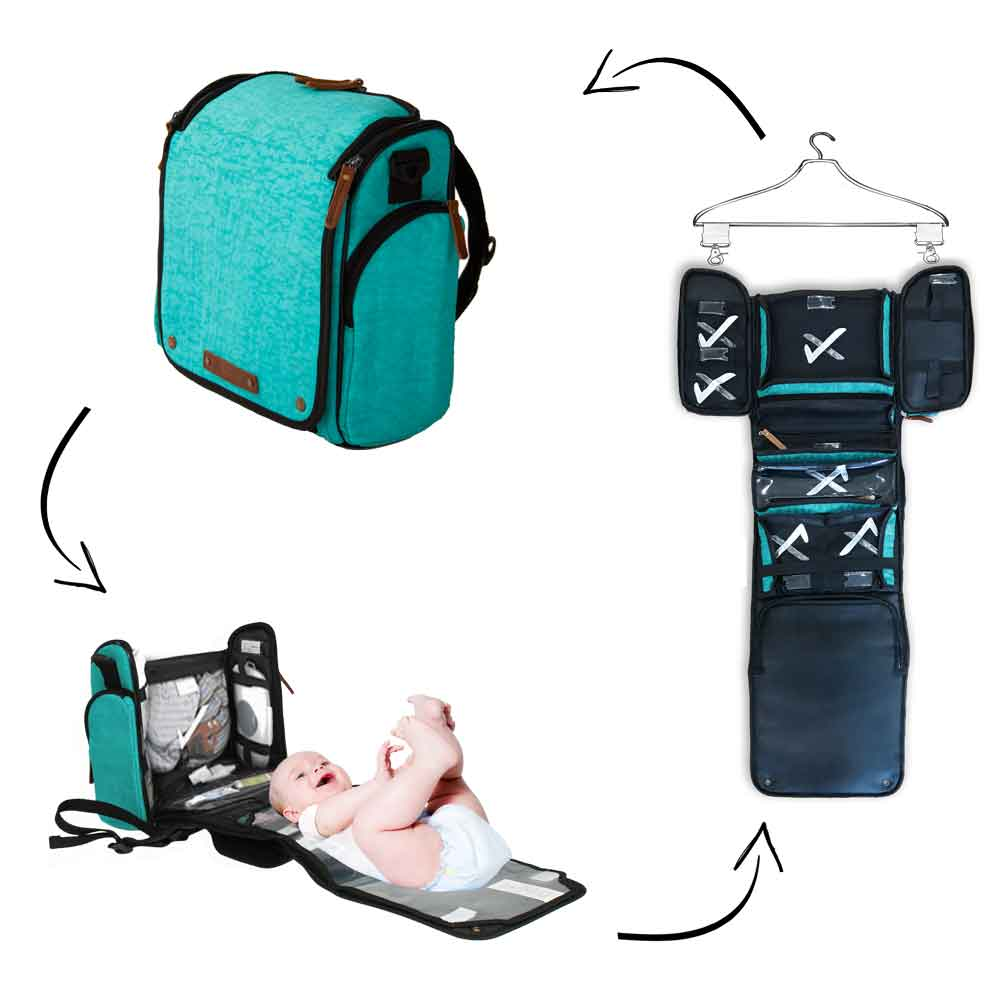Tyke Traveler Diaper Bag Set: Ocean Turquoise