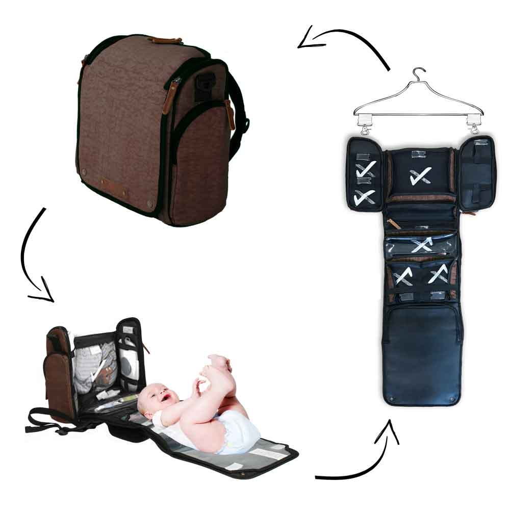 Tyke Traveler Diaper Bag Set: Dynamic Brown