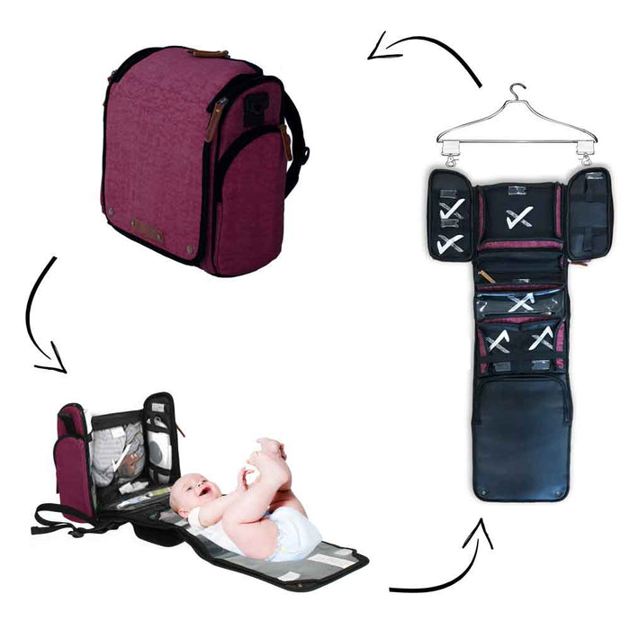 Aspen Tyke Traveler Diaper Bag Set: Urban Burgundy