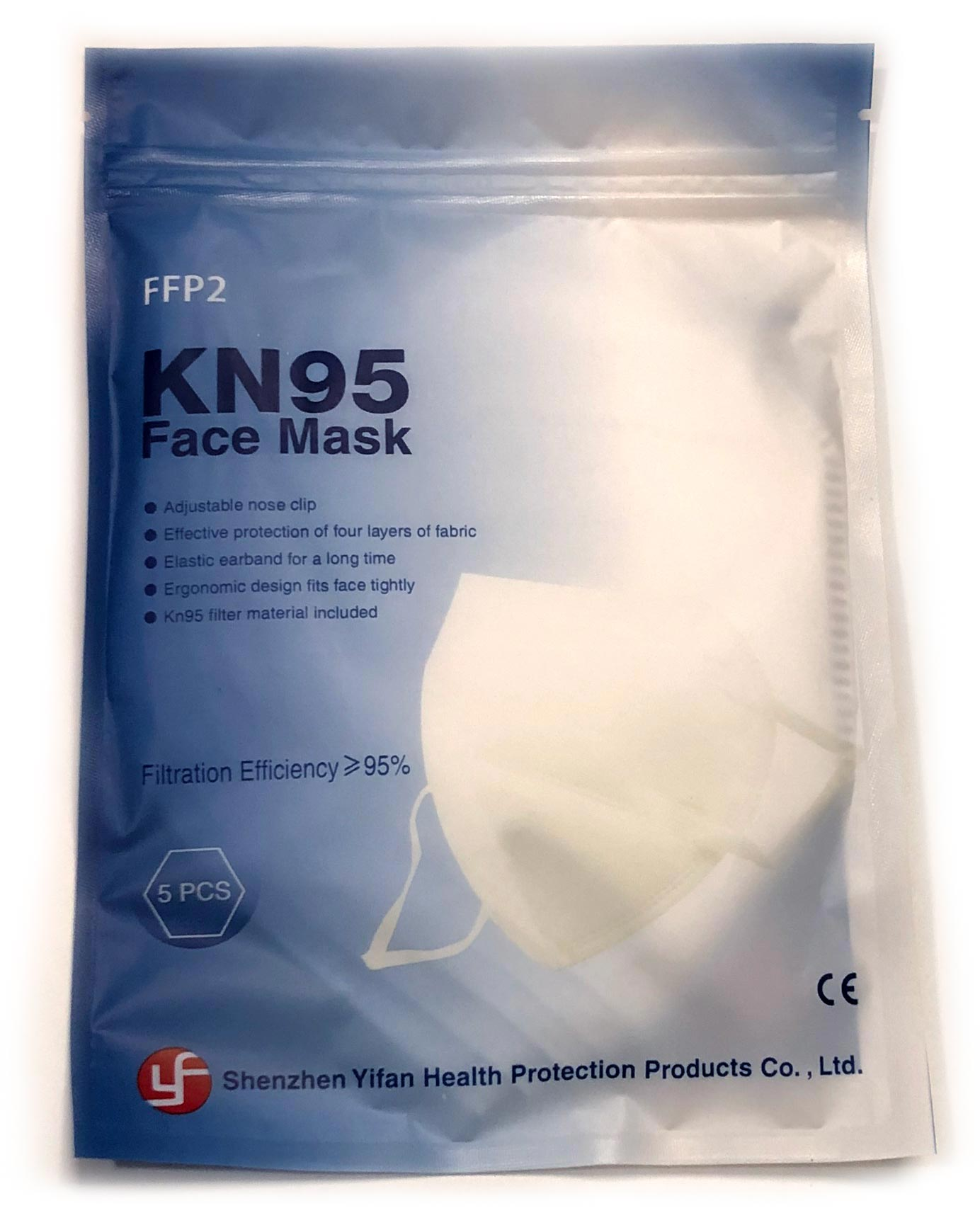 KN95 Face Mask: 5 PCS/pack, 10 PACKS, 50 Pieces total