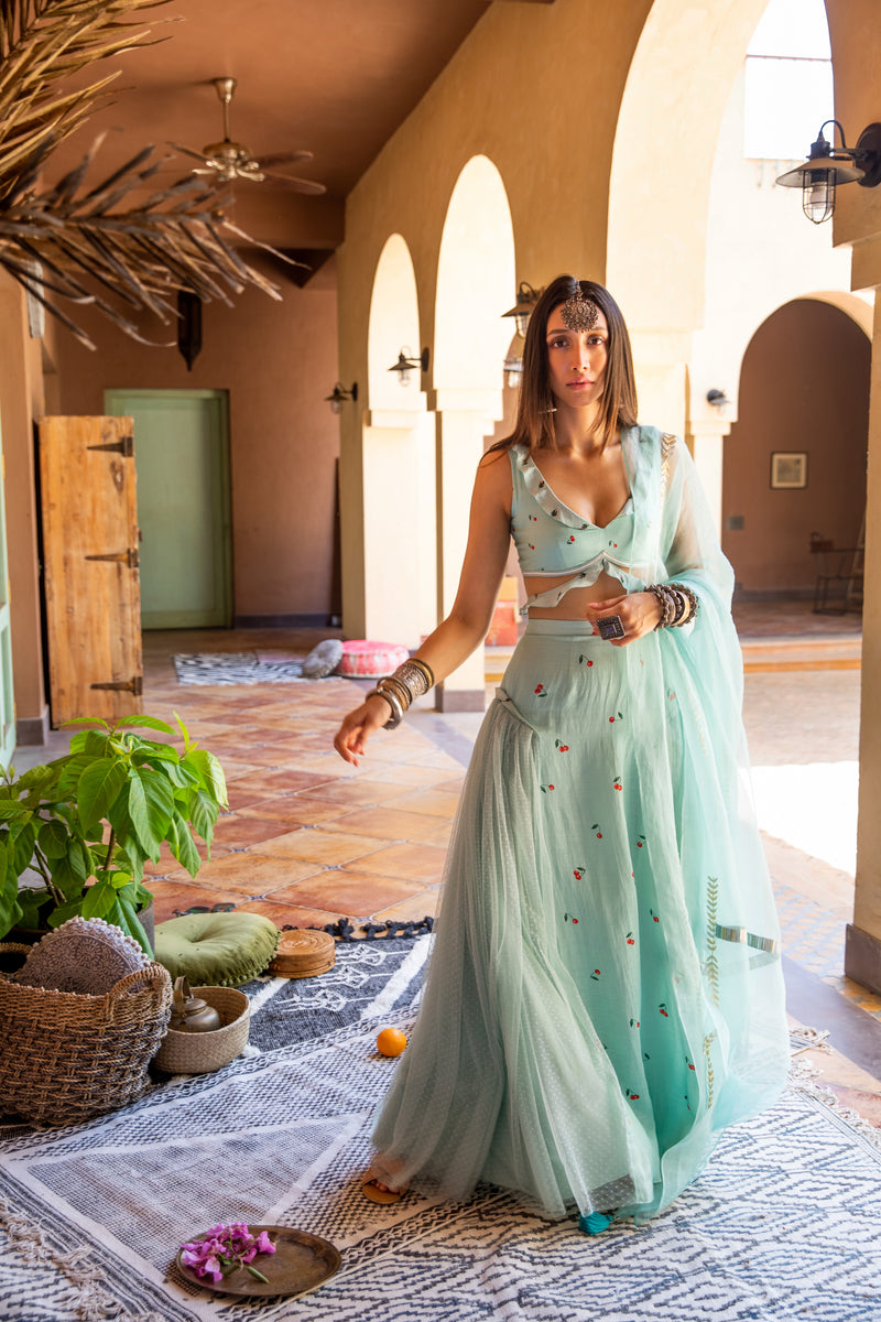 Mint and Cherries bohemian lehenga