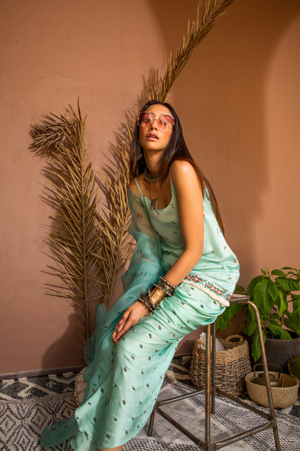 Mint and cherries bohemian slip & dhoti