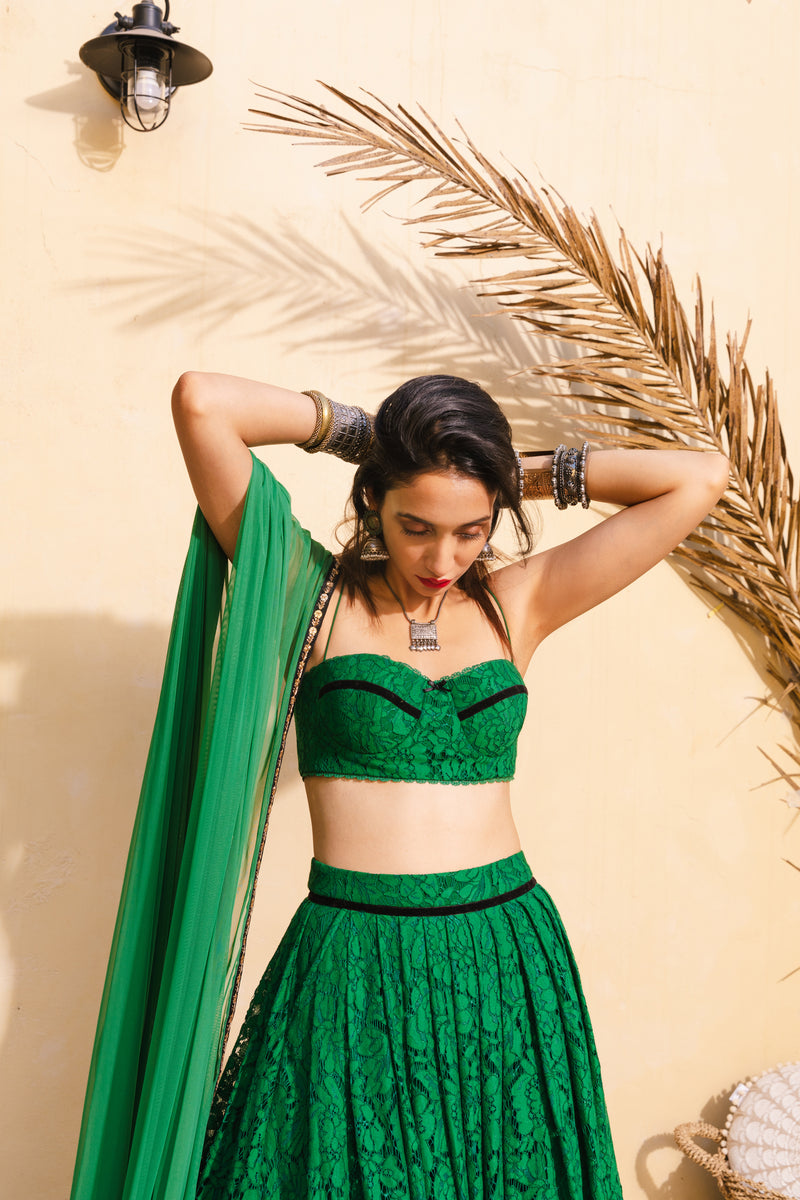 Emerald lace skirt & bralette set