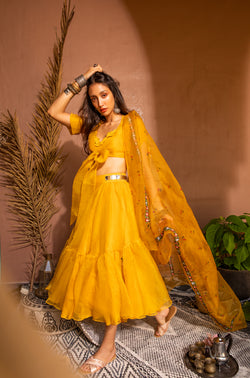 Mango Bow Crop Set with the Cherry dupatta