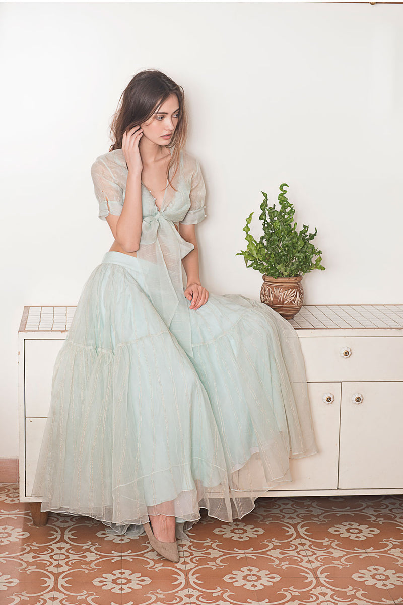 Frosted cotton tie crop and skirt set
