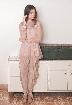 Lilacs and Cream Peplum and Dhoti Set