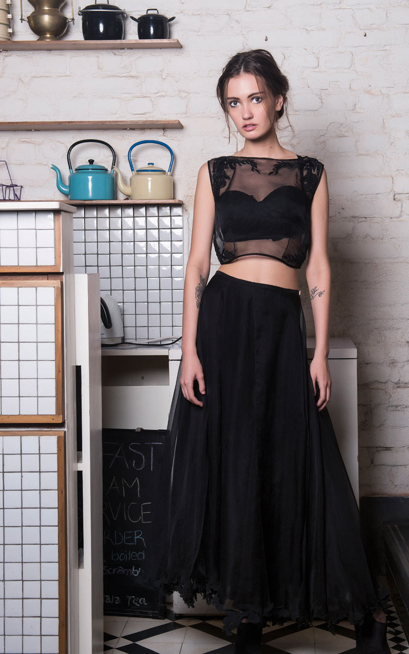 Licorice Berry Organza crop and Skirt set