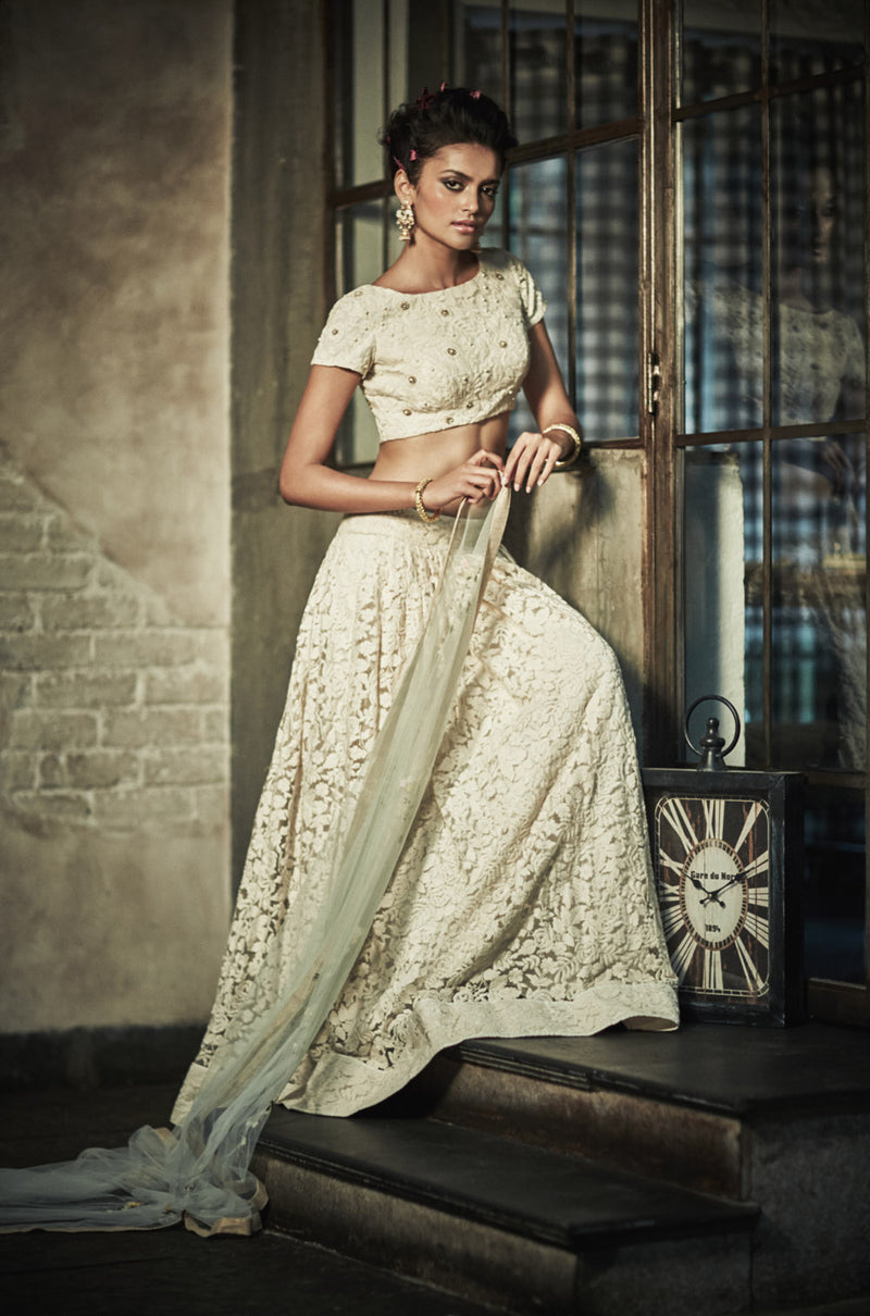 The Ivory Rose Lehenga
