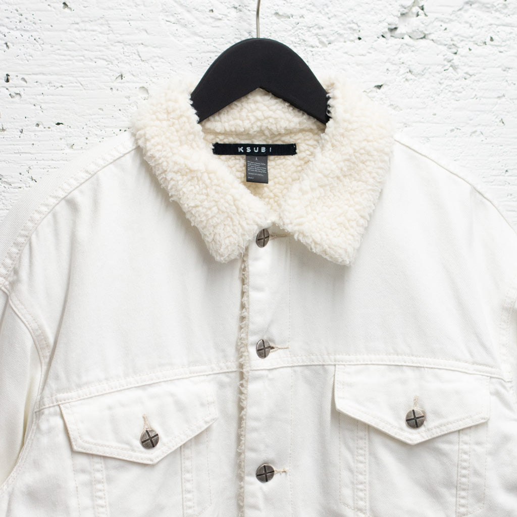 KSUBI WHITE DENIM BORG STARK JACKET