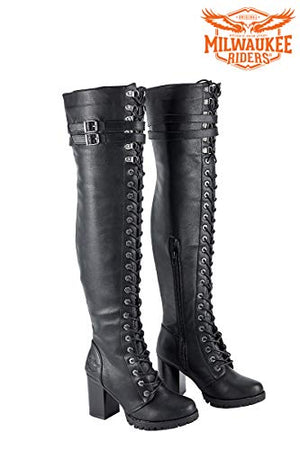 f28ddffa4748 2019 New Model Riders Motorcycle Black High Heel Over Knee Boots for Women s  - Free +