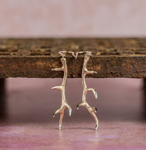 Antler Earrings in Rose Gold Vermeil