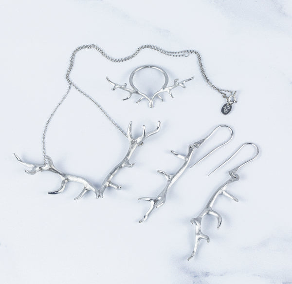 Antler Earrings Plated in Rhodium