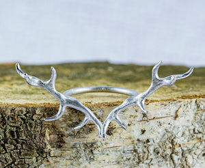 Antler Ring plated in Rhodium