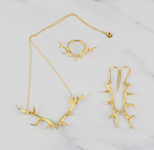 Antler Pendant Plated in Gold Vermeil