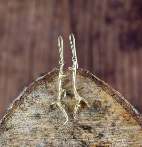 Antler Earrings in Gold Vermeil
