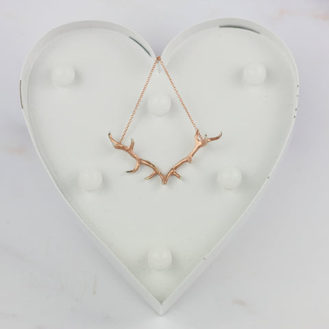 Mini antler pendant in Rose Gold vermeil