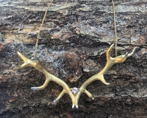 Antler Pendant plated in gold with Morganite