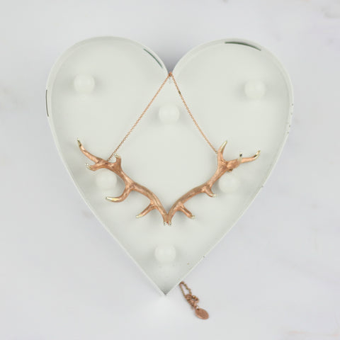 Antler Pendant plated in Rose Gold Vermeil