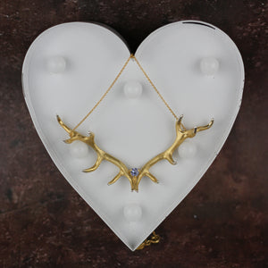 Antler Pendant plated in Gold Vermeil set with Tanzanite
