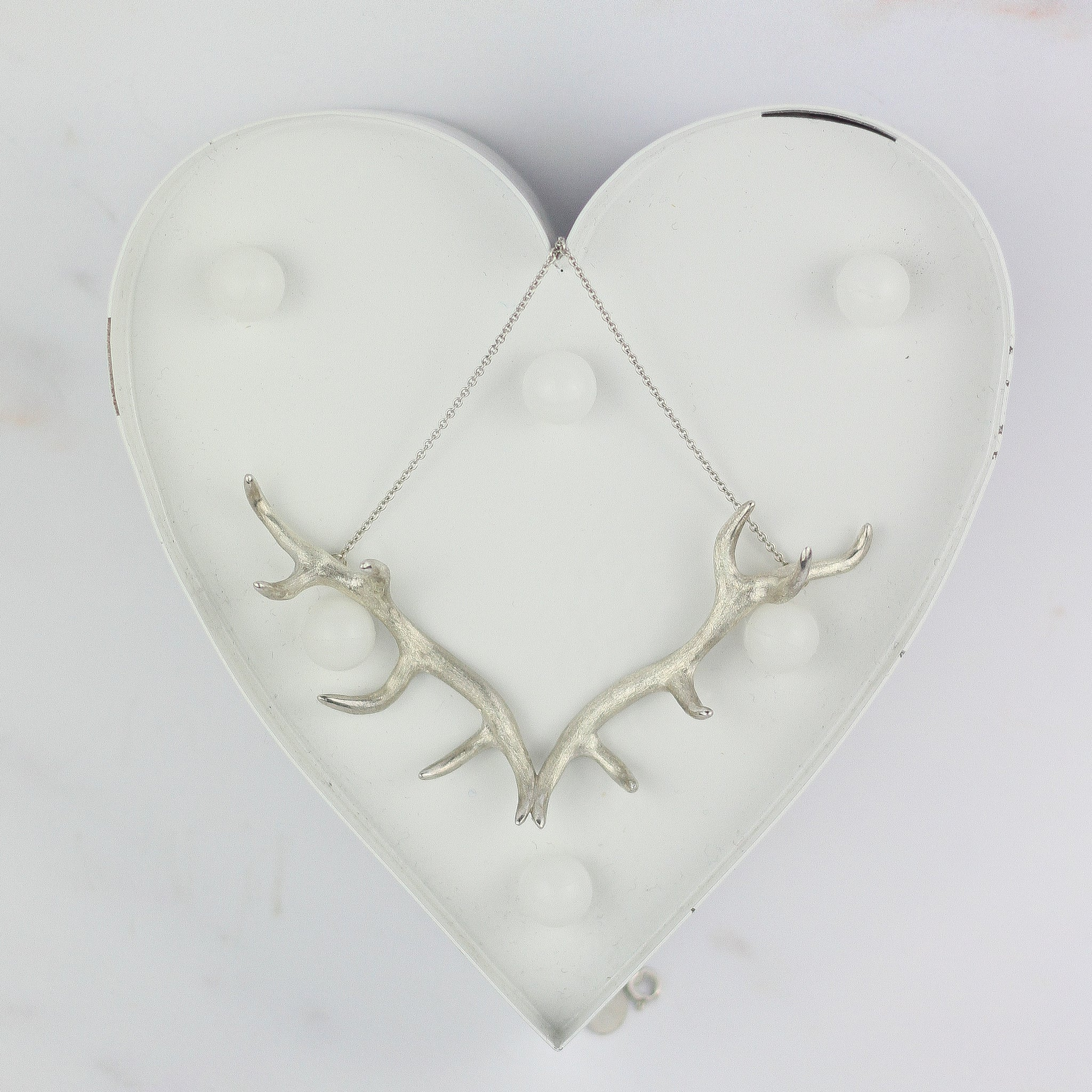 Antler Pendant plated in Rhodium
