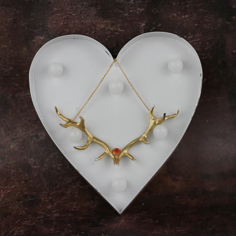 Antler Pendant plated in Gold Vermeil set with a Fire Opal