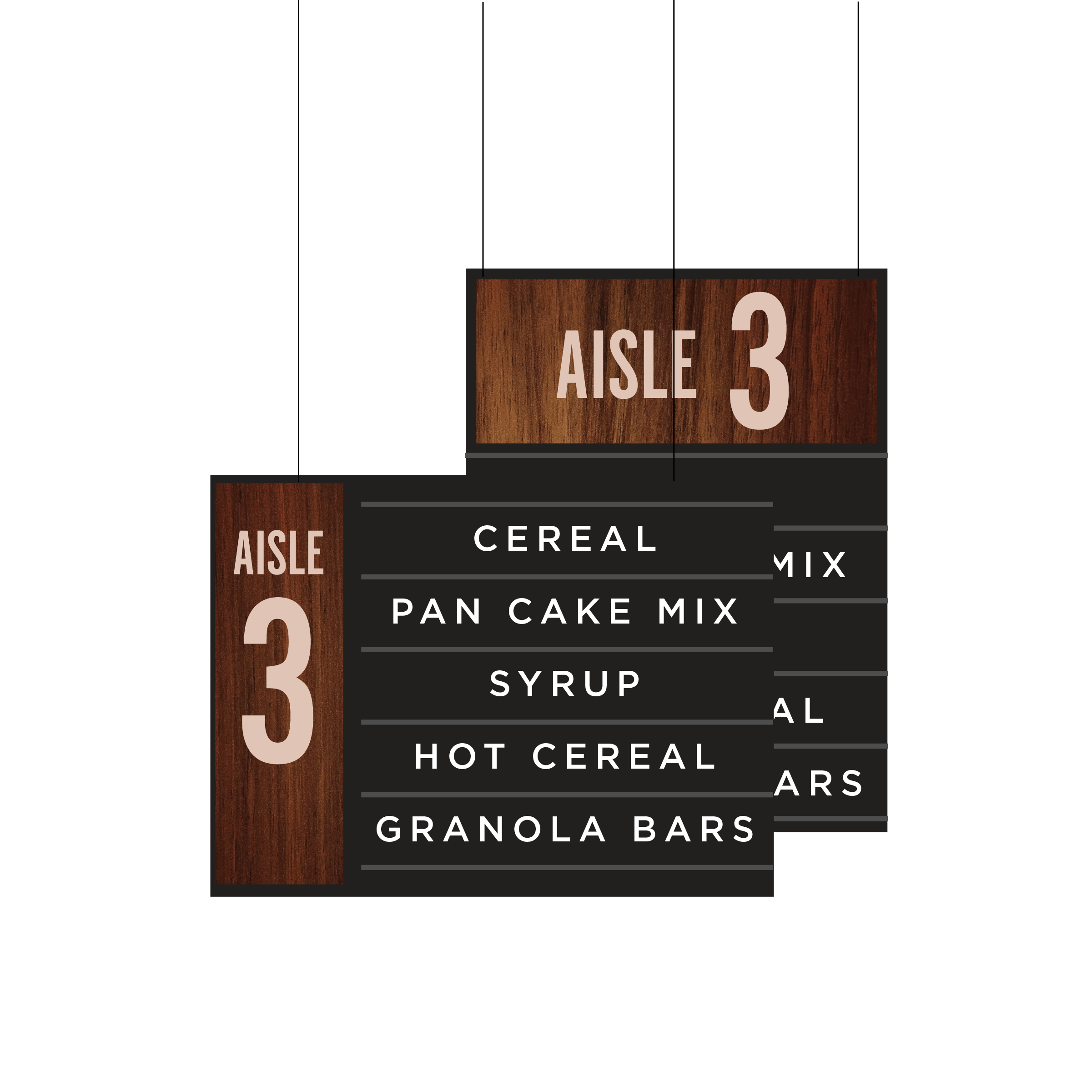 Aisle Marker Dark Wood