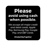 "Square ""No Cash"" Safety Barrier Decal"