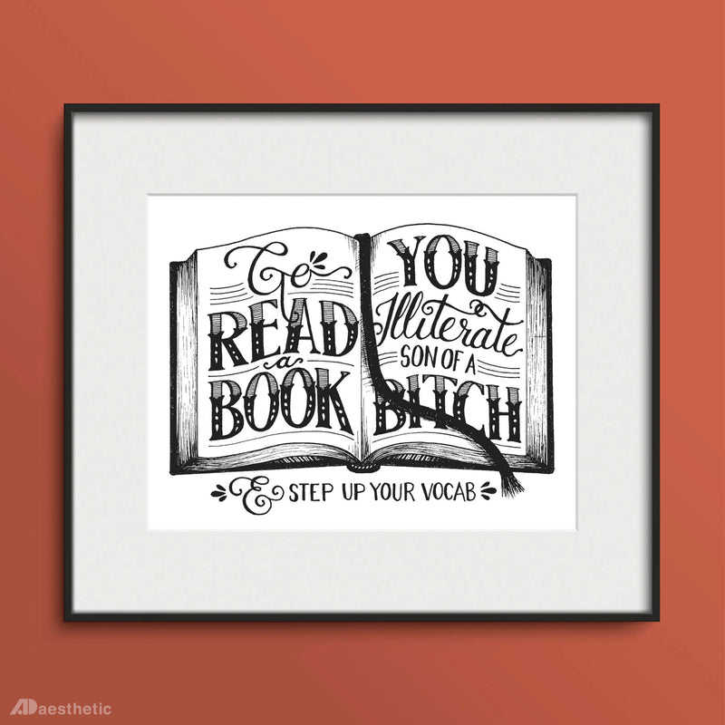 Go Read A Book Poster -  Hand lettered Print