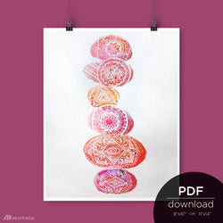 Watercolor Stones Warm Print • Downloadable PDF File • 8x10 or 11x14