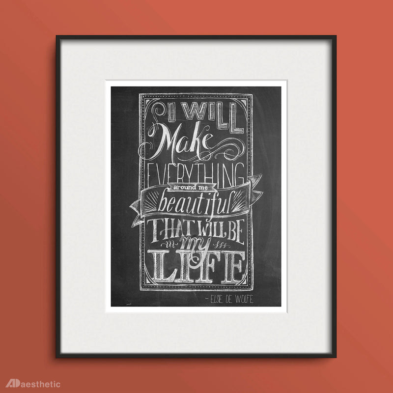 Make Everything Beautiful Poster -  Hand lettered Chalkboard Print