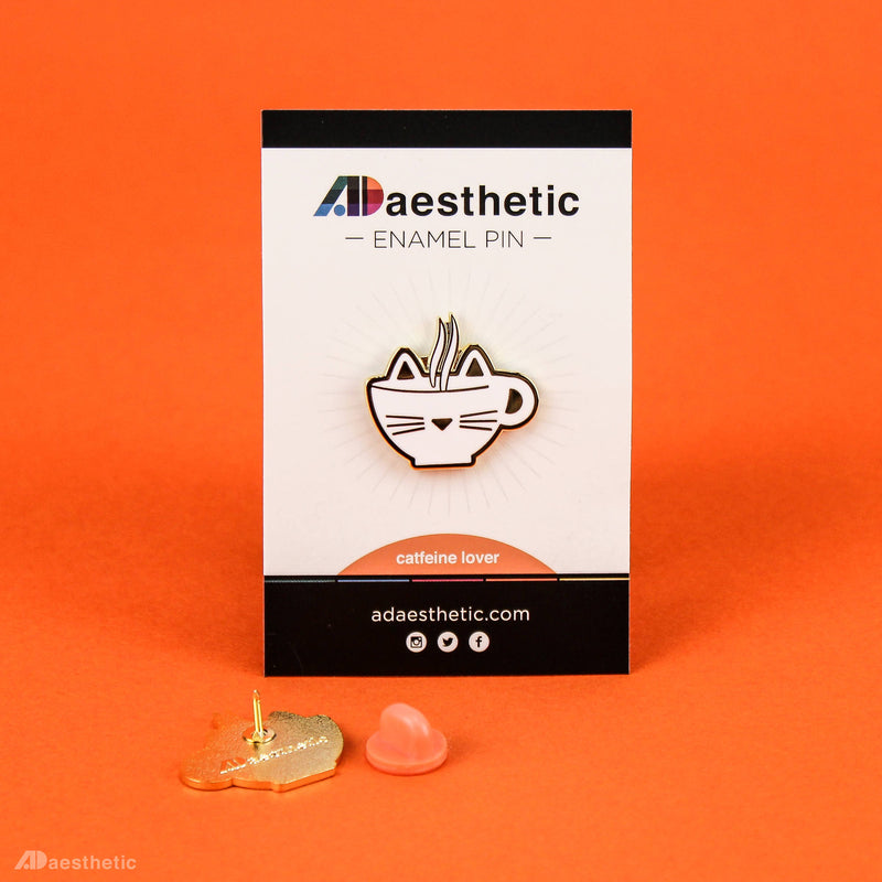 Catfeine Lover Enamel Lapel Pin