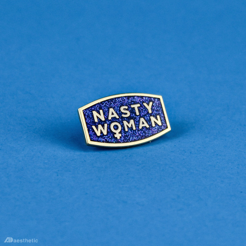 Nasty Woman Enamel Lapel Pin - Purple Glitter
