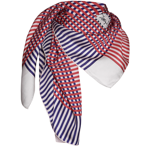 70's YSL Nautical Striped Silk Scarf