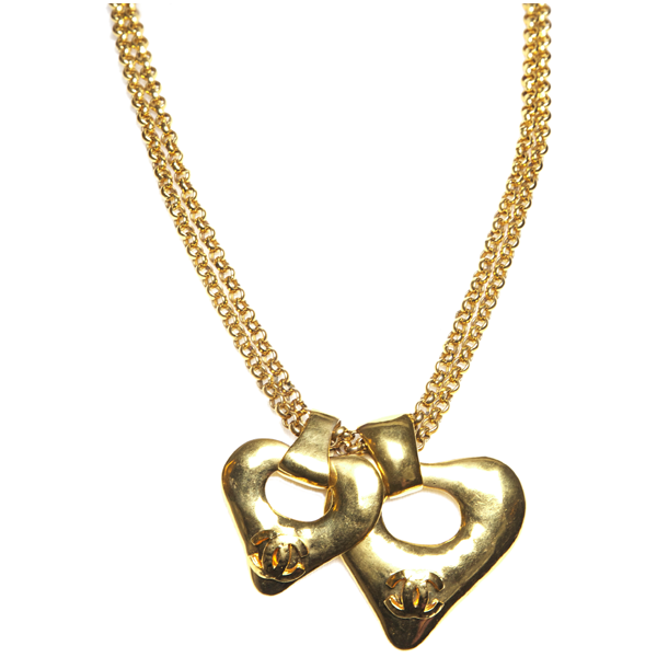90's Chanel Double C Heart Necklace