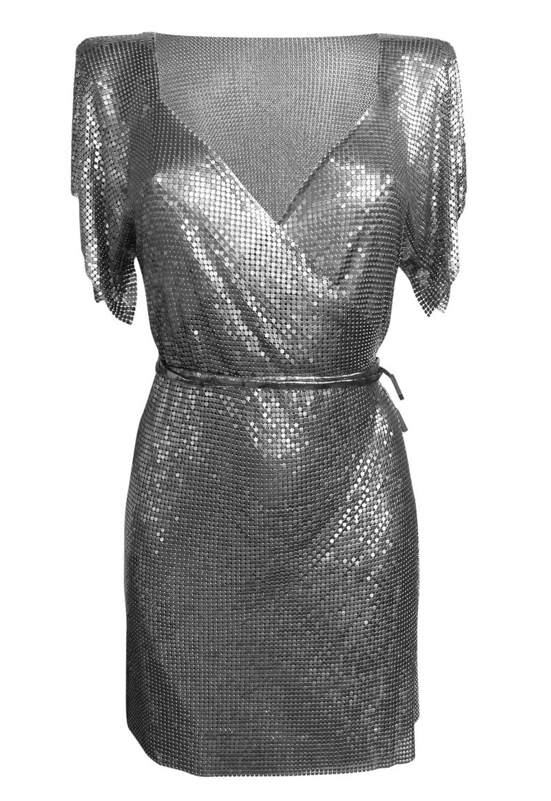 Gunmetal Chain Wrap Dress