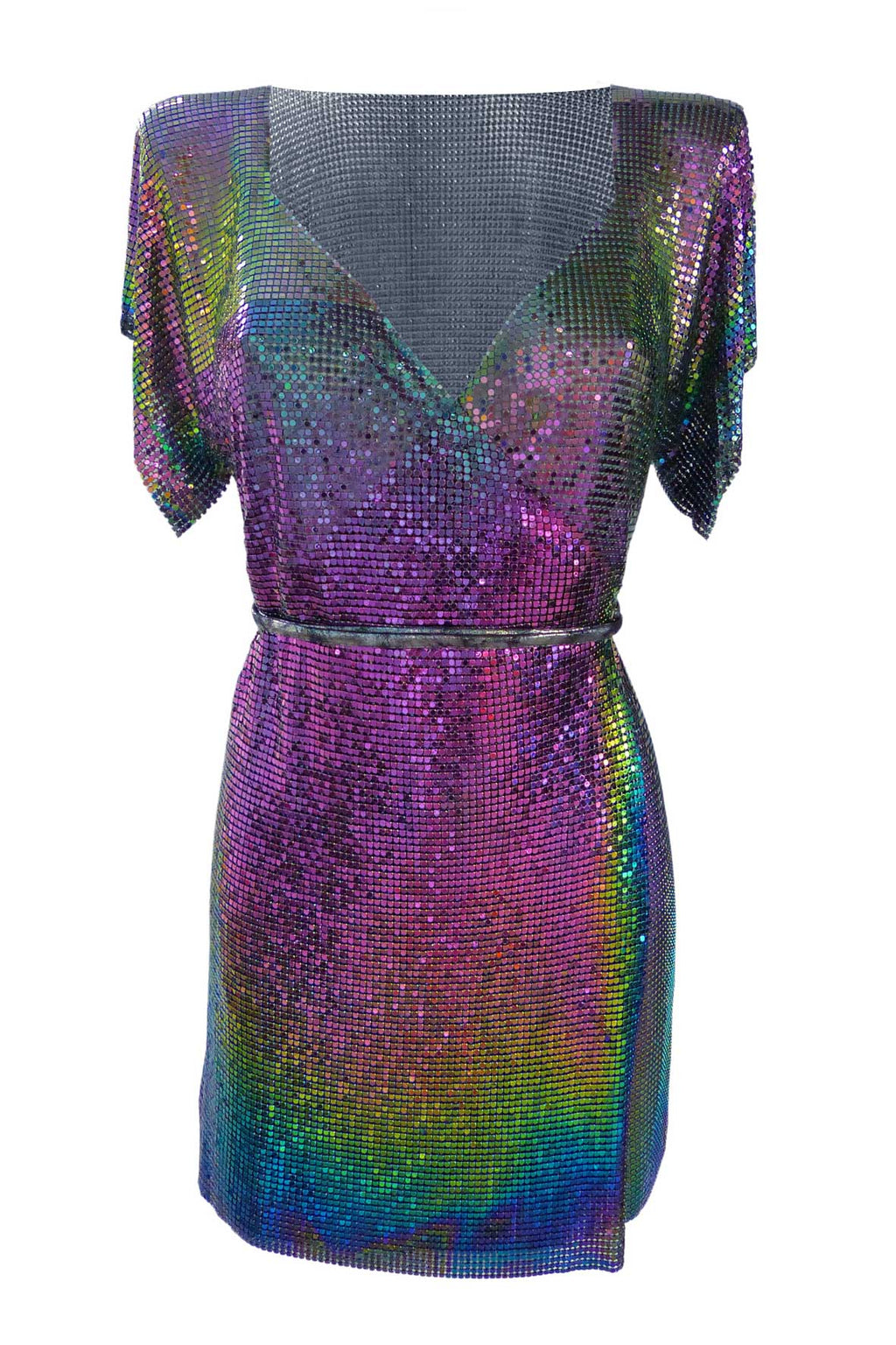 Iridescent Chain Wrap Dress