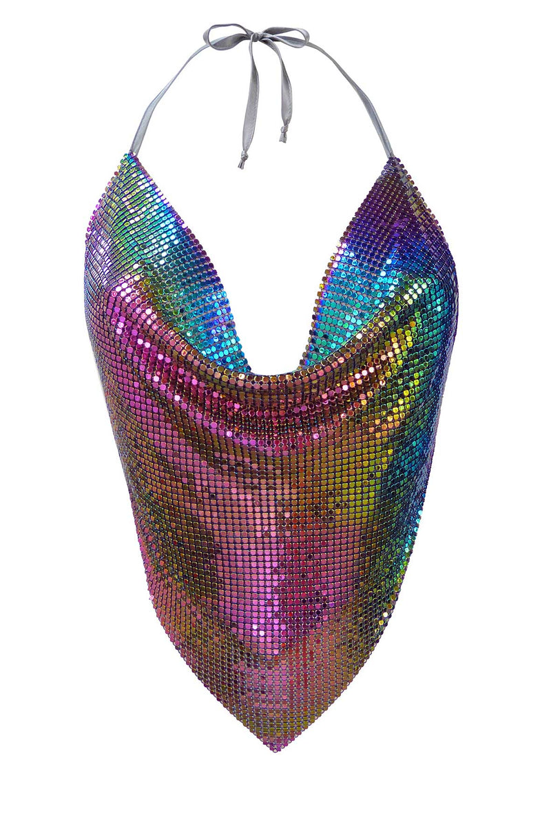 Iridescent Backless Chainmail Top