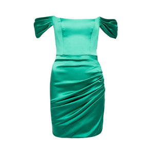 Guadalupe Dress Green Viscose Stretch Satin