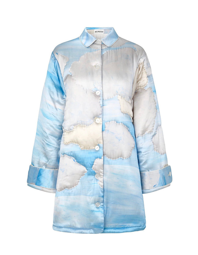 Volume Quilted Silk Jacket - Sky