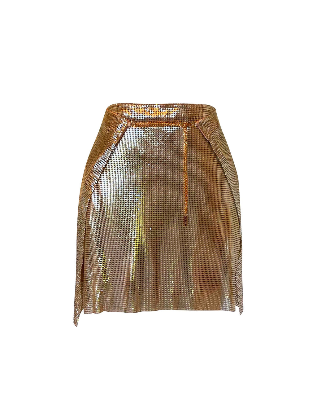 Adrienne Double Wrap Mini Skirt - Gold