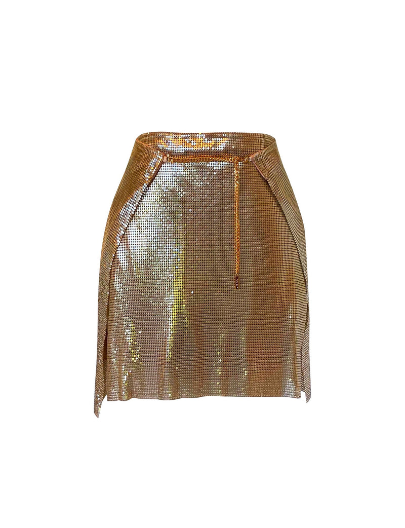 Adrienne Double Wrap Mini Skirt - Gold - Annie's Ibiza