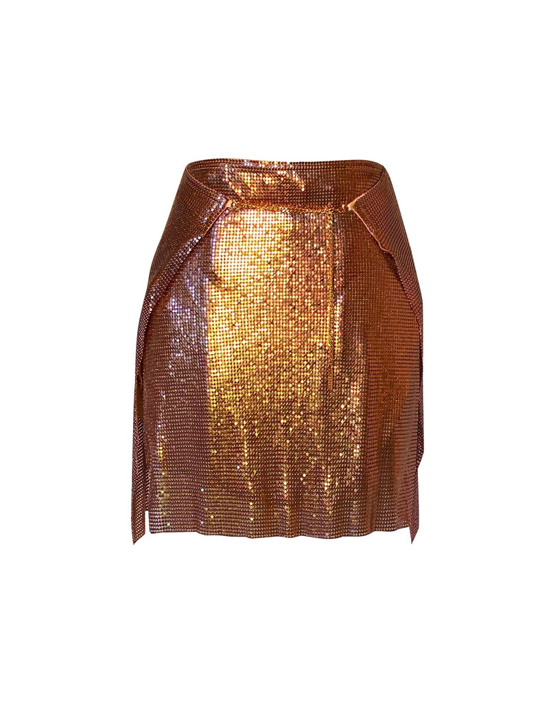 Adrienne Double Wrap Mini Skirt - Bronze