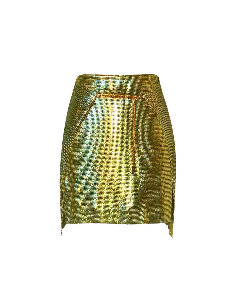 Adrienne Double Wrap Mini Skirt - Citrine
